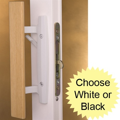 Sliding Patio Door Lockset in White or Black Painted Finish
