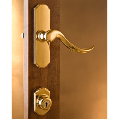Normandy Bright Brass Surface Mount Lockset