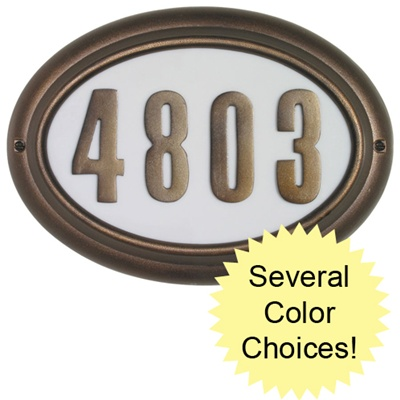 Edgewood Oval Illuminated Address Plaque with Cast Aluminum Numbers